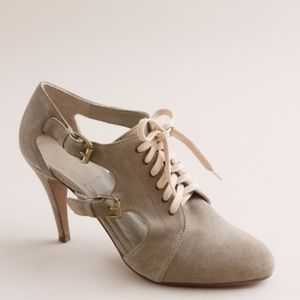 J. Crew Tan Suede Cutout Lace Up Booties